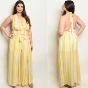 Yellow stripes pant set